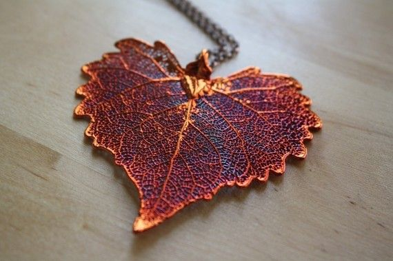 Copper Dipped Cottonwood Leaf Necklace, Long Chain, Dark Red Jewelry, Heart Shape, Autumn and Fall Season