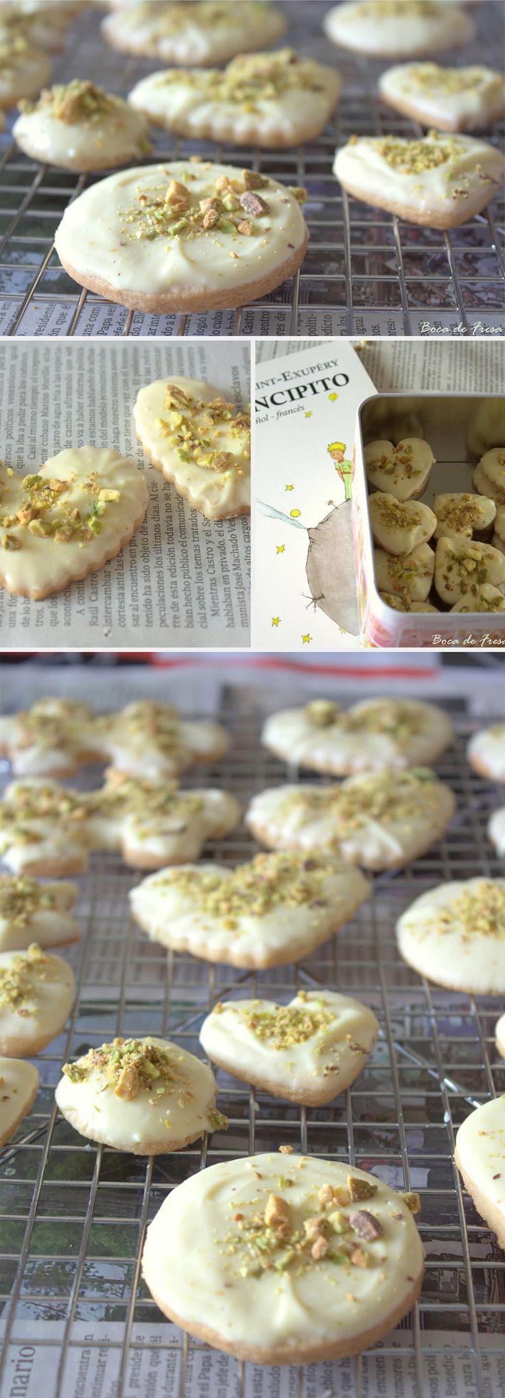 Pastas de chocolate blanco y pistachos / http://www.bocadefresa.net/