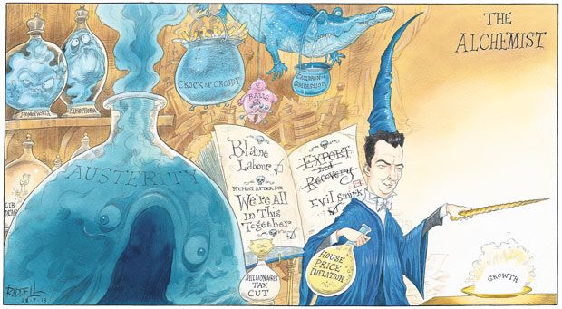28 July 2013 - In a classic cartoon, Riddell draws George Osborne as an alchemist - using various methods, the Chancellor creates growth.