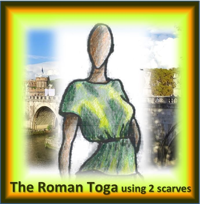 The Roman Toga – classy, slimming, Women's Top for any occasion.  2 Scarves, only straight lines of stitching (beginner to advanced) in only 1 – 2 hours.