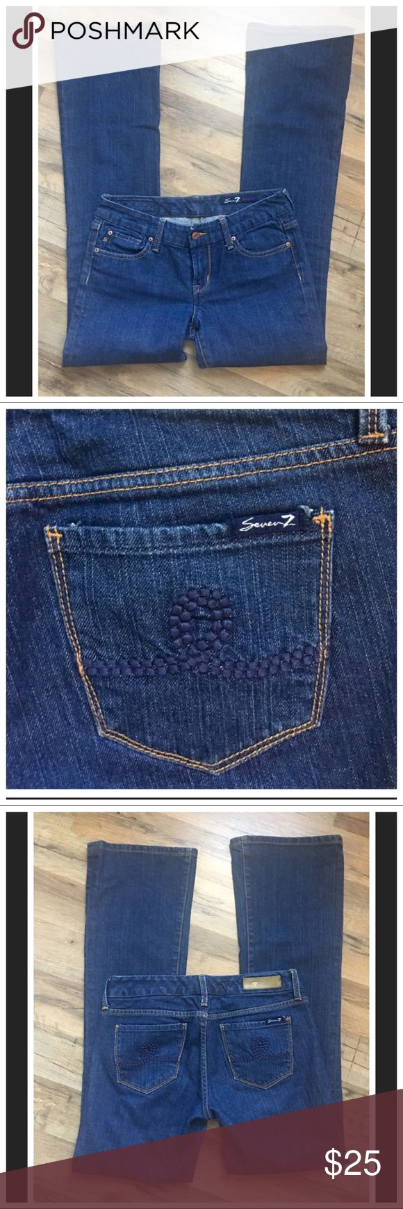 """Seven7 Premium Bootcut Jeans Seven7 Premium Bootcut Jeans Size-28       99%Cotton/1%Spandex Very nice pair of Bootcut Jeans 👖Nice soft denim with a tad of spandex for stretch..measurements are approx: Inseam-32"""" Rise(Front)-7 1/2"""" Rise(rear)-13"""" Waist flat across front-16"""" Tad bit of wear in cuffs shown in photo for full disclosure nothing major. Seven7 Jeans Boot Cut"""