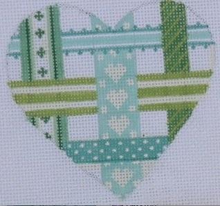 Mini Ribbon Heart - Soft Turquoise & Green