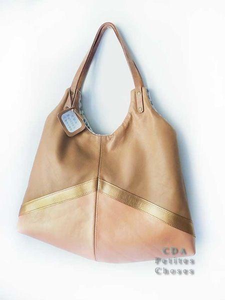 """Image of sac """"Simple bag"""" en cuir caramel, miel doré nacré et rose saumon nacé"""