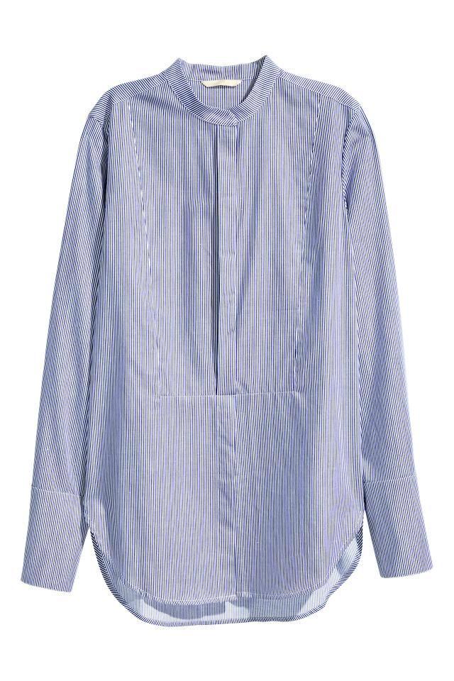 Een recht gesneden overhemdblouse van gestreept popeline van premium cotton  met een halsboordje