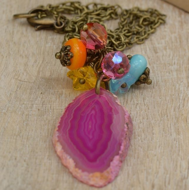 Carnival Magic Hot Pink Agate Slice with Lampwork & Glass Bead Necklace