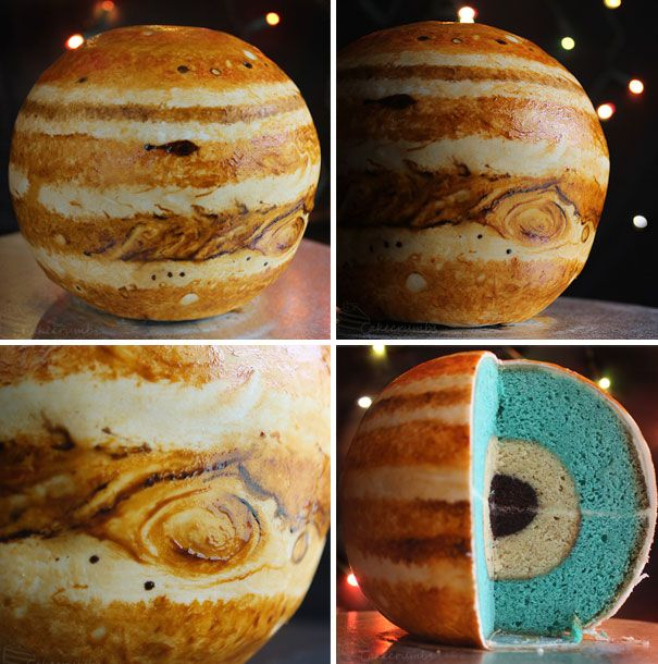Rhiannon, a 25-year-old Zoology graduate, bakes cakes that portray the planets' layers using powder, liquid and gel paste to draw the continents of the Earth and the beautiful swirls of Jupiter. Jupiter's  rock/ice core is made from mudcake, almond butter serves as the liquid metallic hydrogen, and the liquid molecular hydrogen is actually a layer of colored vanilla. Yummy, and educational!  Website: http://cakecrumbs.me/