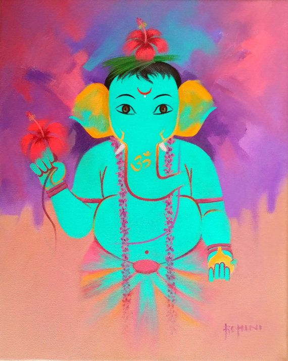 Original Ganesha - Acryl auf Leinwand
