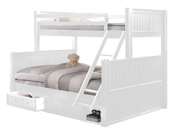 Beatrice Extra Long Twin Over Queen Bunk Bed White Queen Bunk Beds White Bunk Beds Bunk Beds With Stairs