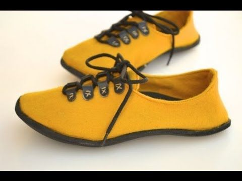 How to Mold and Attach a Sole to Handmade Shoes - YouTube - Uses a self forming sole material.  For our felted slippers and shoes.