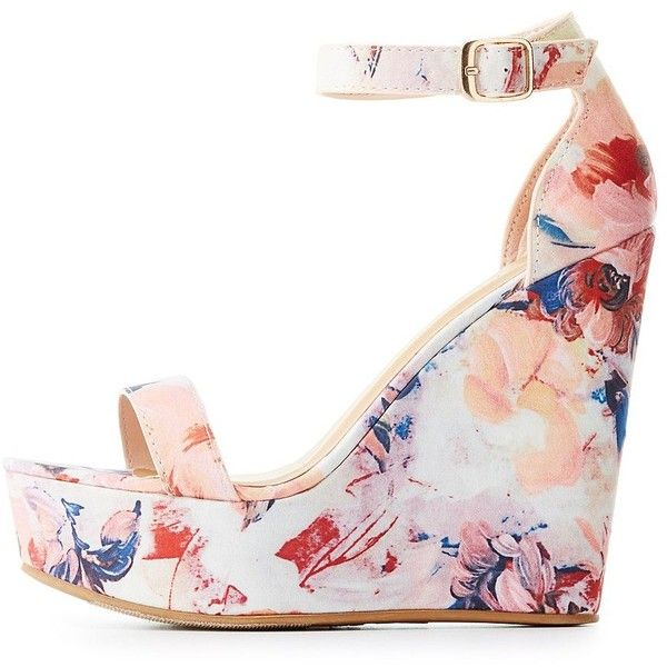 Bamboo Floral Two-Piece Wedge Sandals ($25) ❤ liked on Polyvore featuring shoes, sandals, blush, embellished wedge sandals, wedge shoes, cushioned sandals, buckle sandals and strap sandals