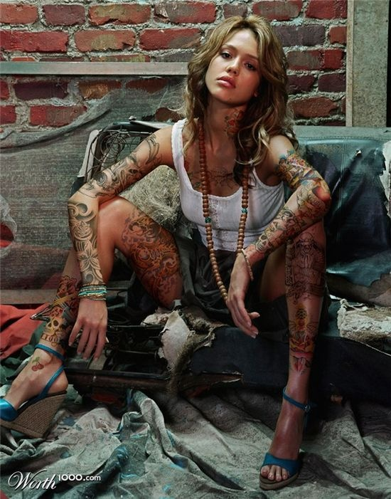 """if only she really were that tattooed up. then people would be like """"oh jessica alba has it, it's okay now"""" lol"""