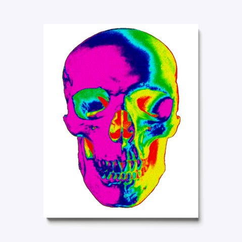 Colorful Skull White T-Shirt Front