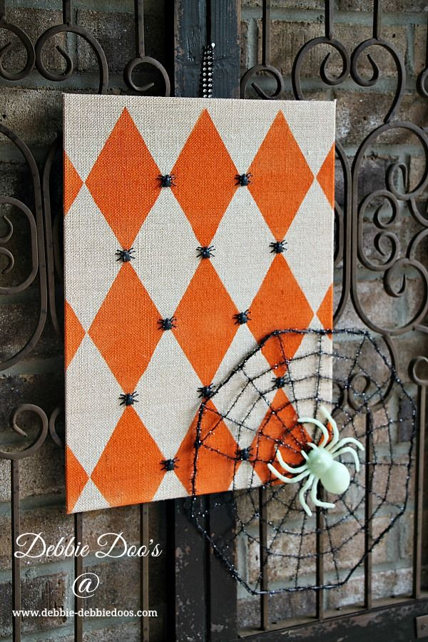 a diy stenciled halloween decoration using the harlequin stencil from cutting edge stencils http