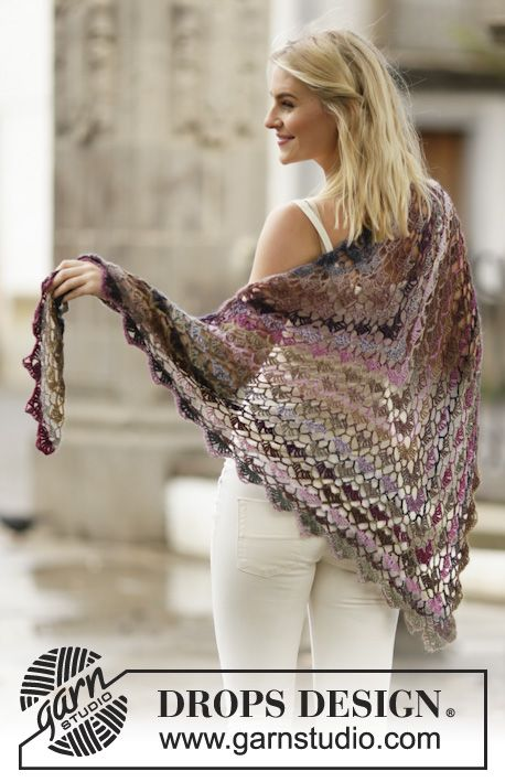 "Evening Breath - Virkad DROPS sjal i ""Delight"" med solfjädersmönster - Free pattern by DROPS Design"