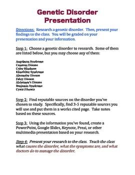 genetic disorder research paper rubric