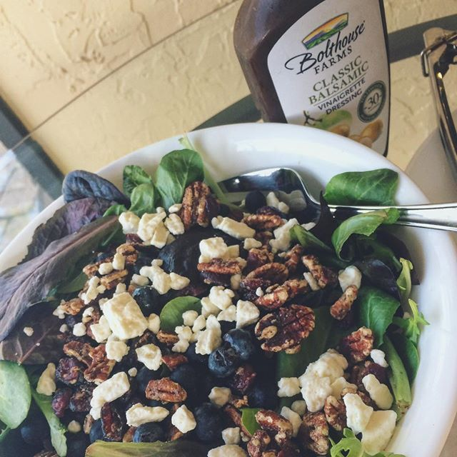 My favorite salad. Tastes like sweet summertime ☀️ Fresh spring mix, blueberries, feta, and pecans  All topped with Bolthouse farms balsamic dressing  30 calories per serving never tasted so good! I'm in love with all of their dressings !! @bolthousefarms