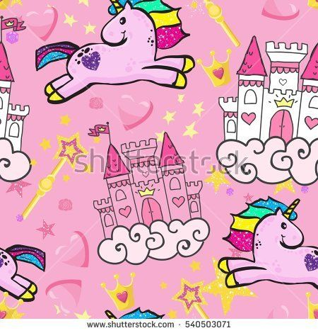 Princess Seamless Pattern for textile  with unicorn, castle, crown, butterfly, stars, diamond. Abstract seamless pattern for girls.  Creative  background for textile