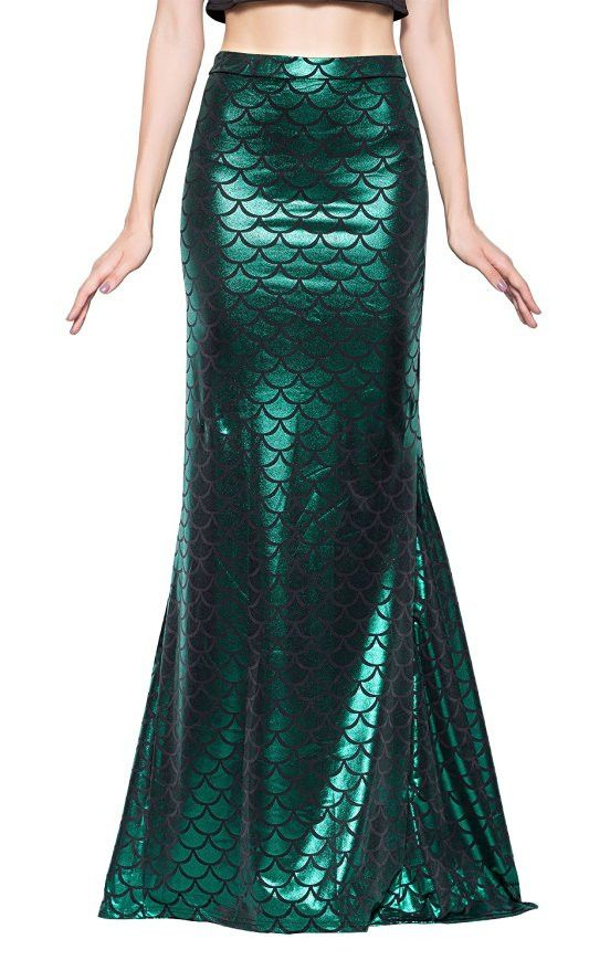 MSRP: $69.00 GLAM: $39.00 SAVE: $30.00 Thinking about heading out as a mermaid for Halloween? How sexy and perfect is this maxi skirt with shiny holographic scaled treatment? And, it's not truly a cos