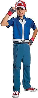 Child Pokemon Costume Ash Halloween Fancy Dress Kids Deluxe Blue/red Boys Medium