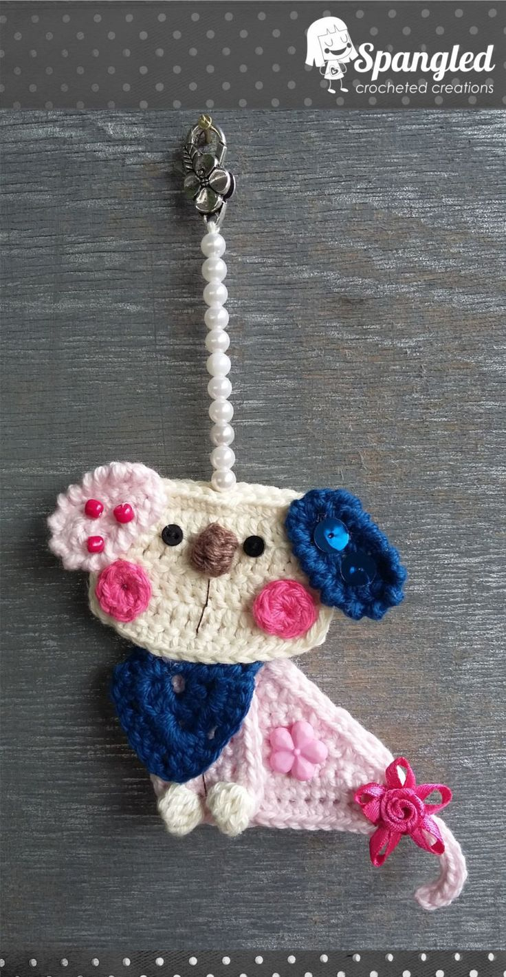 Dog Crochet Keychain by SpangledCrochet on Etsy
