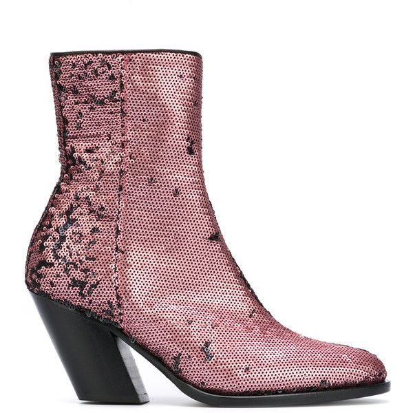 A.F.Vandevorst sequined ankle boots (4,550 CNY) ❤ liked on Polyvore featuring shoes, boots, ankle booties, bootie boots, real leather boots, pink booties, pink sequin boots and pink ankle boots