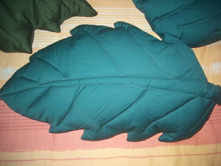 satin pillows in the shape of various leaves about 60 cm