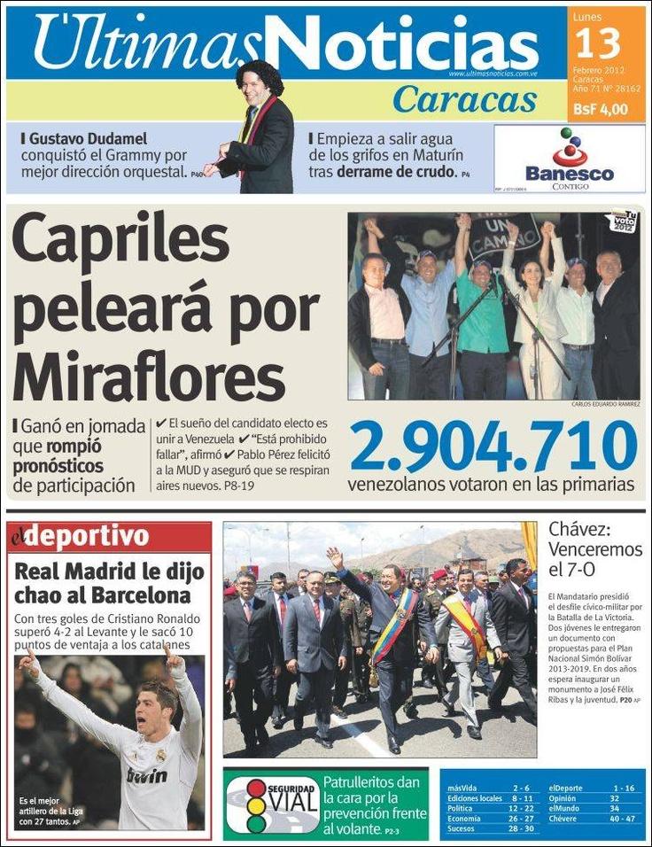Portada Últimas Noticias, primarias 12F