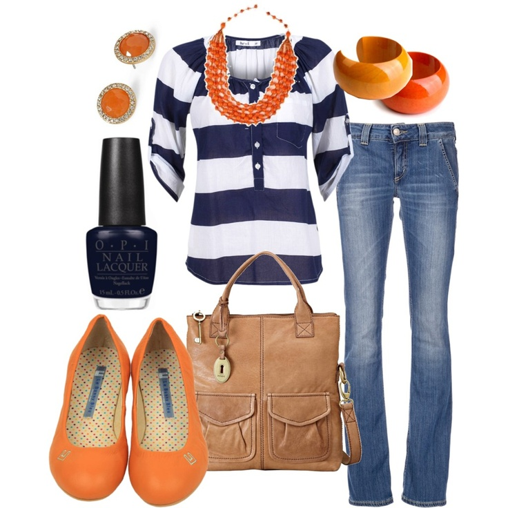 orange & navy by htotheb, via Polyvore. Navy is a staple for my summertime wardrobe - definitely need to find some orange goodness to mix in there.