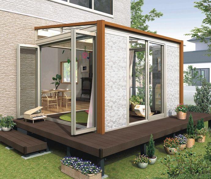 サンルームやテラスのリフォーム工事費用や価格は サンルーム 増築 テラス 屋根付きデッキ
