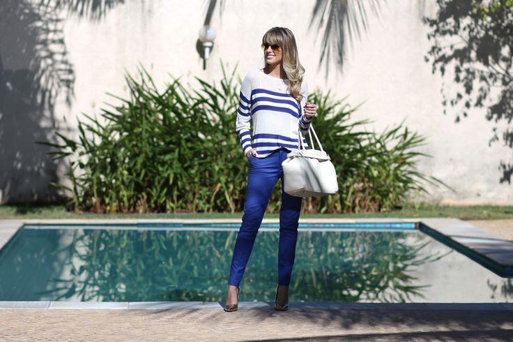 look do dia, listras, Full Store, azul, calça azul, tricô listrado, aviador ray ban, bolsa schutz off white, piscina, fashion, blog de moda ribeirão preto (2)