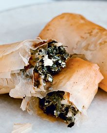 Spinach and feta filo rolls from Gordon Ramsay. A wonderful appetizer