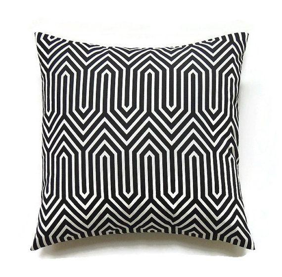 Black Pillow 20x20 Pillow Cover Decorative Pillow by ThePillowToss