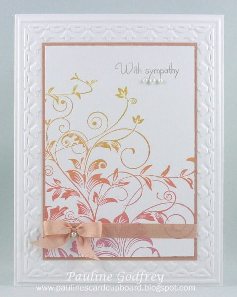 "By Pauline Godfrey (lotsofstamps at Splitcoaststampers). Stamp is ""Leafy Vines"" by Hero Arts. Stampin' Up tulips embossing folder."