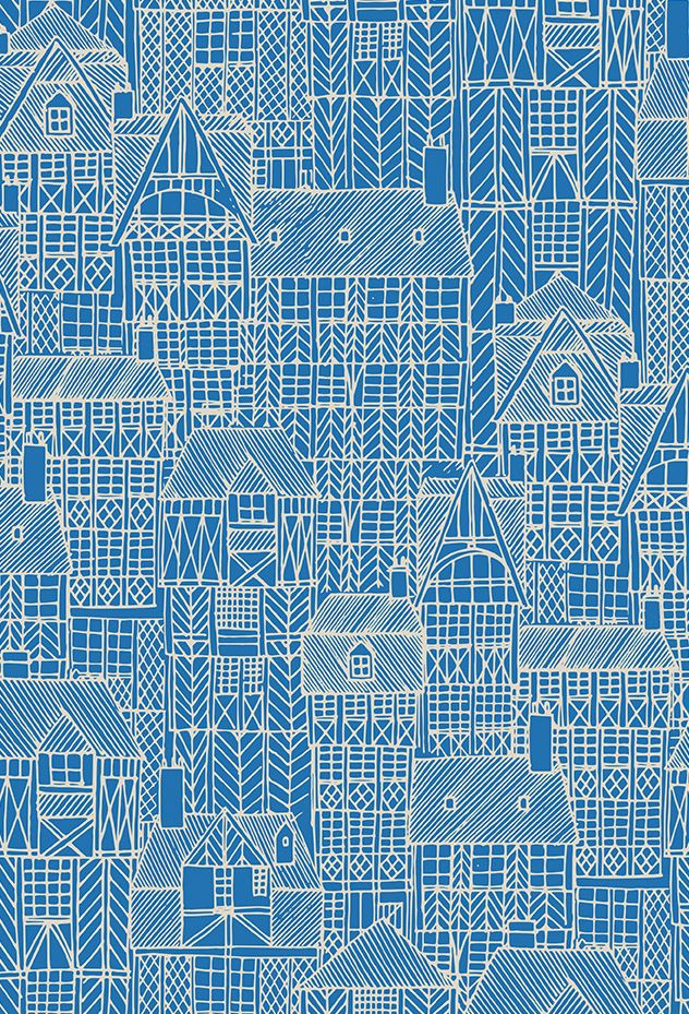 Drawn Town print by Kathryn Fowler at Seasalt Cornwall. Pattern inspired by medieval buildings in Brittany.
