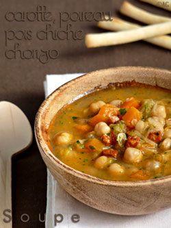 Soupe de pois chiches, poireaux, chorizo & coriandre -