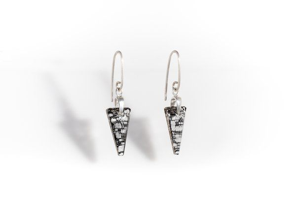 Black Patina Crystal Earrings | Handmade with Swarovski Elements | Red Reticule Collection