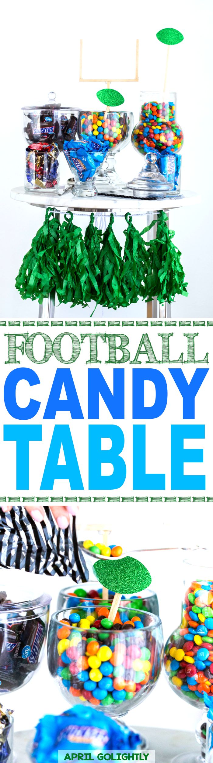 Football Party Candle Table for your sweet tooth and football loving guests and your next tailgate party  #sweetestwaytoscore @mmschocolate AD