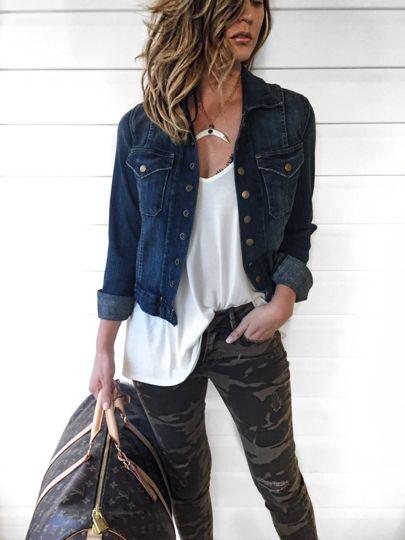 camo jeans + jean jacket
