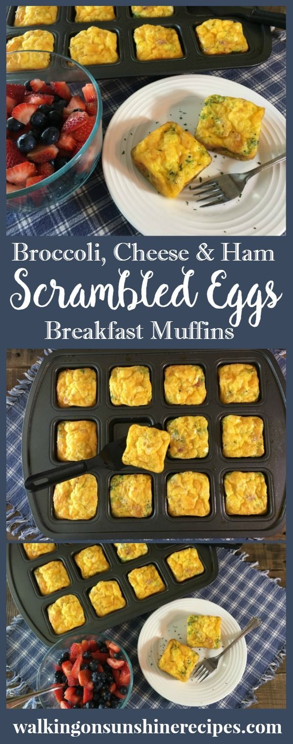 Scrambled egg breakfast muffins are filled with broccoli, cheese and ham and are freezable so you can have a healthy breakfast ready to go on busy mornings from Walking on Sunshine.