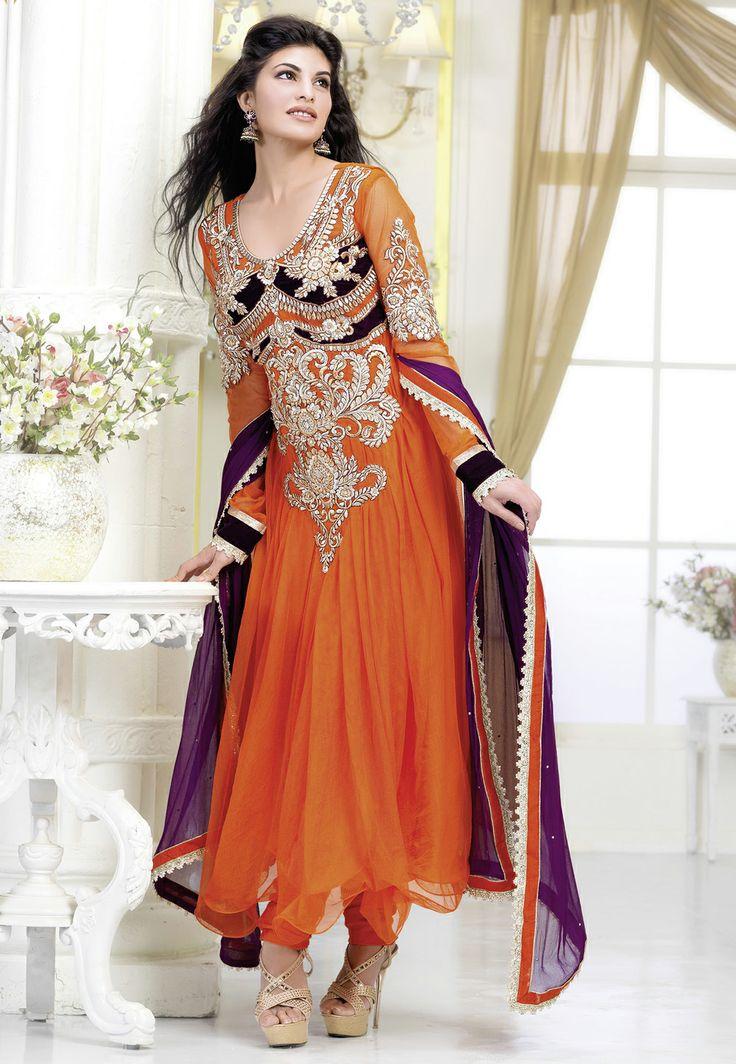 #Orange #Churidar Kameez