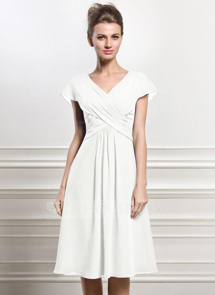 A line princess v neck knee length ruffle zipper up cap for Summer wedding dresses with sleeves