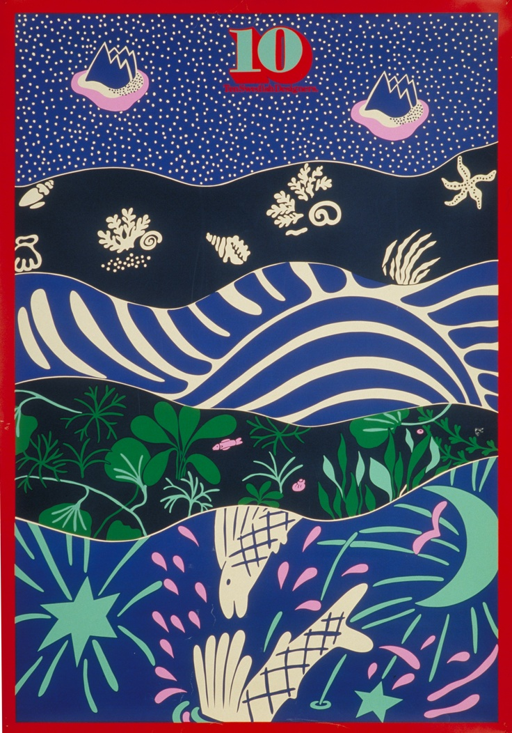 "10-gruppen's 1975 poster showing the ""Sea collection""."