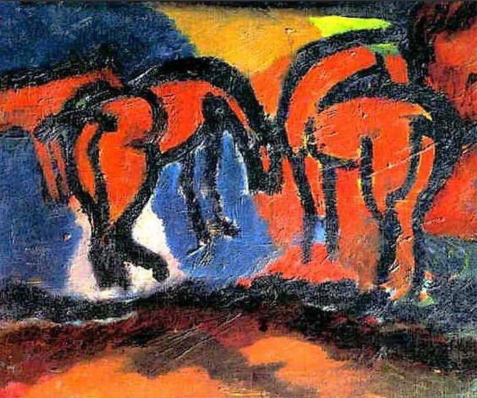 'Horses', Oil On Canvas by David Burliuk (1882-1967, Ukraine)