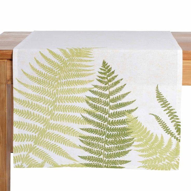 Tischläufer Farn grün ca B:40 x L:150 cm (100% Baumwolle)