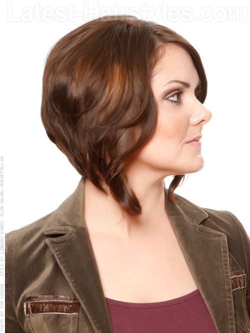 Chocolate Colored Hairstyle With Severe A-Line Haircut And Side Bangs Side View