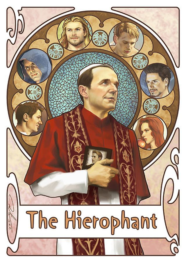 Fan Art: The Avengers are Surprisingly Fitting as Cool Tarot Cards | The Hierophant: Phil - Chiron