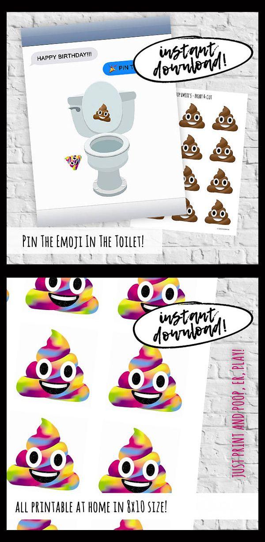 Poop Emoji Pin The Emoji In The Toilet Pin The Tail Printable Game