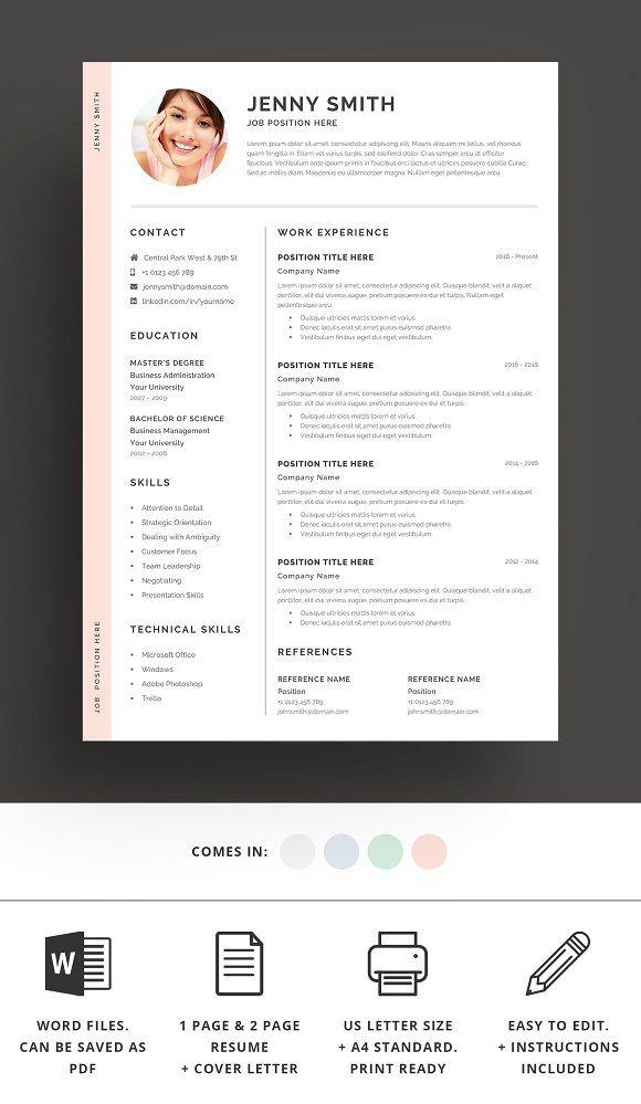 Resume Template Word Modern Clean Cv Resume Template Word Resume Template How To Make Resume