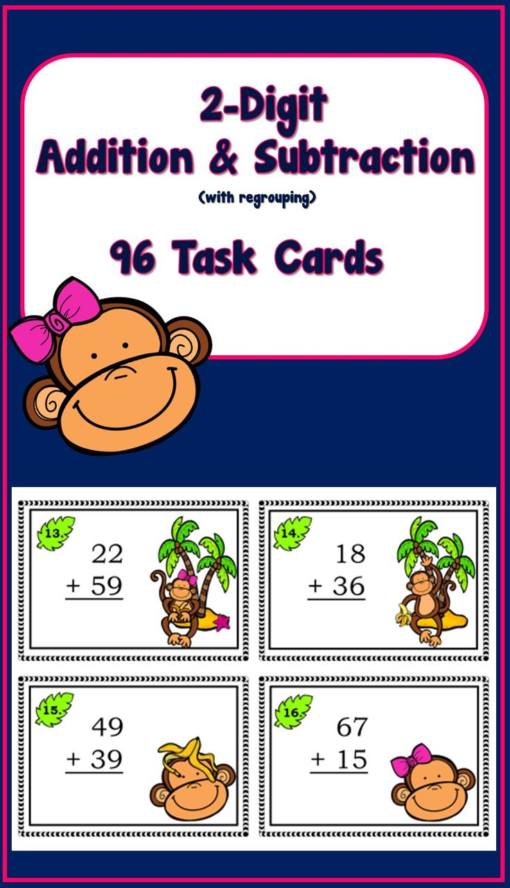 Adding And Subtracting 2 Digit Numbers 96 Task Cards