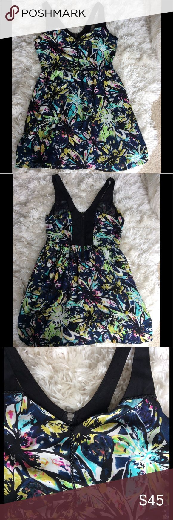 Gorgeous Floral Dress I love this dress. Darling, flowy dress. Multi color flower pattern. Fully lined. Zipper in the back and with side pockets. It can be dressed up or down. Polyester fabric. Lining is nylon and spandex. Only worn once. Dex Dresses